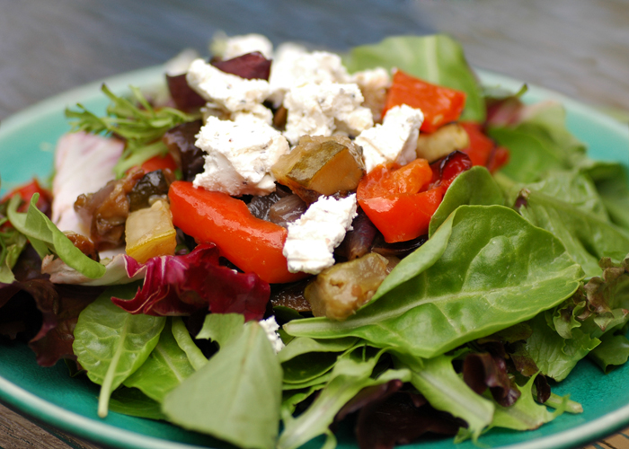 Roasted Veggies and Goat Cheese Salad